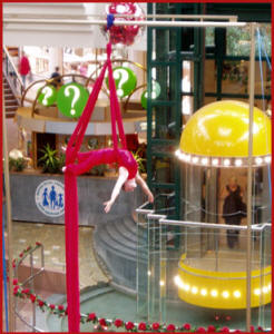 Claire Ashmore performing silks the Metro Centre
