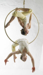 Lilli and Sara, performers on the hoop