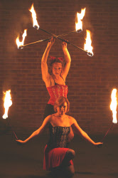 Flame Fatale fire staff performers