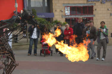 Mechanical horse breathes fire