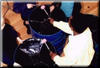 Running a steeldrum workshop in schools.