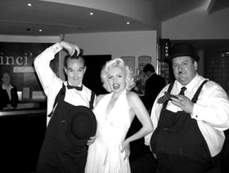 Laurel and Hardy with Marilyn Monroe