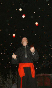Juggling 5 balls as a cossack during a Christmas Party