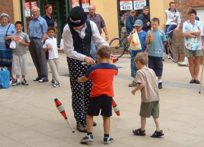 Entertaining children in the street